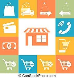 平ら, スタイル, 買い物, アイコン, set., web-story, イラスト, colorfull, ベクトル