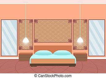 平ら, スタイル, 部屋, mirrors., 巨大, ホテル, 内部, 家具