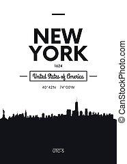 平ら, スタイル, 都市, ポスター, イラスト, スカイライン, ベクトル, ニューヨーク