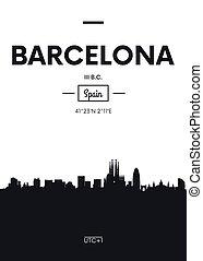平ら, スタイル, 都市, ポスター, イラスト, スカイライン, ベクトル, バルセロナ
