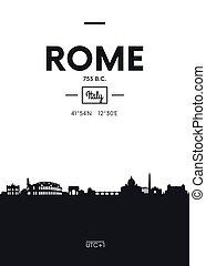 平ら, スタイル, 都市, ポスター, ローマ, イラスト, スカイライン, ベクトル