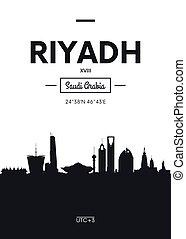 平ら, スタイル, 都市, riyadh, ポスター, イラスト, スカイライン, ベクトル