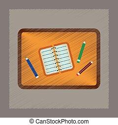 平ら, スタイル, 鉛筆, ノート, 影で覆うこと, テーブル, アイコン