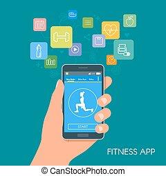 平ら, スタイル, 電話, モビール, app, icons., 適用, ベクトル, デザイン, イラスト, フィットネス, スポーツ, concept., 痛みなさい