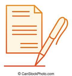 平ら, スタイル, 10., アイコン, 勾配, リスト, eps, style., オレンジ, ペン, ペーパー, 設計された, icon., 最新流行である, 網, レコード, デザイン, app.