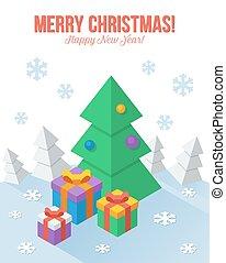 平ら, スタイル, axonometric, 挨拶, クリスマスカード
