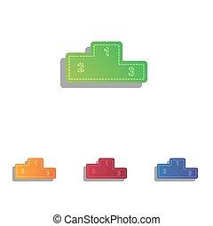 平ら, スタイル, illustration., アイコン, ソファー, set., 印, アップリケ, icon., colorfull