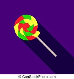 平ら, スタイル, illustration., シンボル, サーカス, 隔離された, バックグラウンド。, ベクトル, 白, アイコン, lollipop, 株