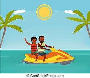 平ら, スタイル, illustration., ジェット機, 幸せな カップル, ski., 漫画, アメリカ人, アフリカ, 活動的, concept., 乗車, 人々。, 旅行