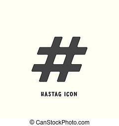 平ら, スタイル, illustration., 単純である, ベクトル, hashtag, アイコン