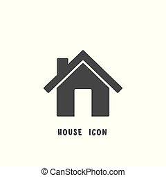 平ら, スタイル, illustration., 単純である, 家, ベクトル, アイコン