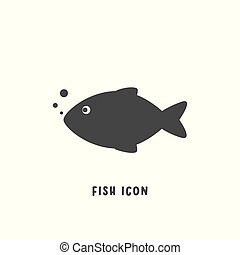 平ら, スタイル, illustration., 単純である, fish, ベクトル, アイコン