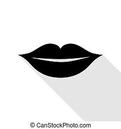 平ら, スタイル, illustration., 印, 唇, 黒, 影, path., アイコン