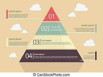 平ら, スタイル, infographic, ピラミッド, チャート