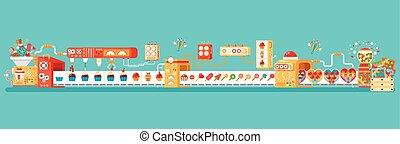 平ら, スタイル, lollipops, コンベヤー, キャンデー, 隔離された, イラスト, 包装, 生産,...