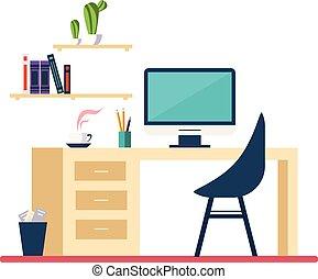平ら, スタイル, minimalistic, 部屋, 仕事場