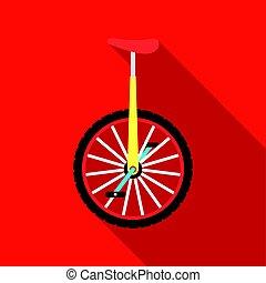 平ら, スタイル, monocycle, illustration., シンボル, サーカス, 隔離された, バックグラウンド。, ベクトル, 白, アイコン, 株