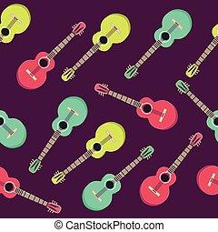 平ら, スタイル, school., 壁紙, pattern., seamless, 創造的, ギター, 音楽, design.