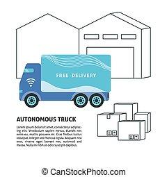 平ら, スタイル, self-driving, トラック, テンプレート, 倉庫, 旗