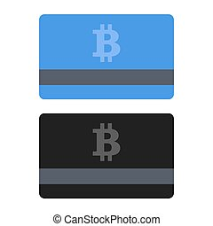 平ら, スタイル, set., bitcoin, icons., クレジット, ベクトル, カード