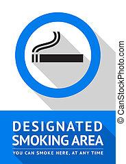 平ら, ステッカー, 区域, ラベル, デザイン, 喫煙