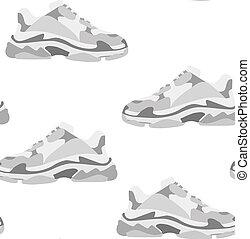 平ら, スニーカー, ファッション, illustration., pattern., seamless, consept, 靴, design.