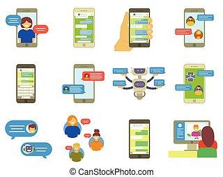 平ら, スピーチ, セット, コンピュータ, 電話, 談笑する, 人々, smartphone, ラップトップ, オンラインで, メッセージ, chatting., コレクション, ベクトル, メッセンジャー, イラスト, チャット, インターネット, ビデオ, app, 泡