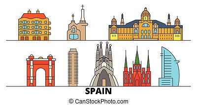 平ら, スペイン, illustration., 都市, ランドマーク, バルセロナ, 有名, ベクトル, 光景, 線, スカイライン, 旅行, design.