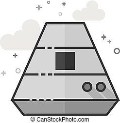 平ら, スペース, grayscale, -, カプセル, アイコン
