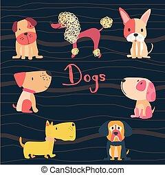 平ら, セット, かわいい, 犬, ベクトル, 漫画