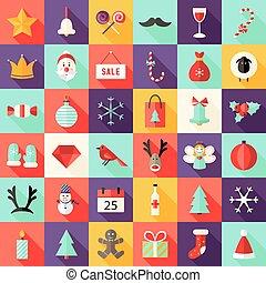 平ら, セット, アイコン, 大きい, まっすぐにされた, 1, クリスマス
