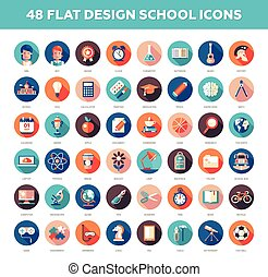 平ら, セット, アイコン, 学校, 現代, デザイン, infographics, 大学