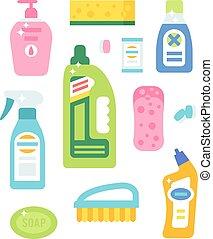 平ら, セット, アイコン, 家, 衛生, ベクトル, プロダクト, 清掃