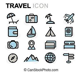 平ら, セット, アイコン, 旅行, ベクトル, 線