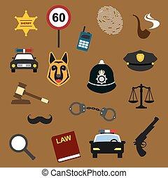 平ら, セット, アイコン, 正義, 警察, 法律