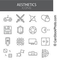 平ら, セット, アイコン, 現代, ベクトル, デザイン, 薄いライン