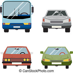 平ら, セット, アイコン, 自動車, イラスト, ベクトル, レトロ