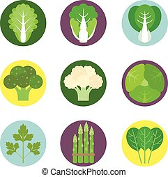 平ら, セット, アイコン, 野菜, 1, ベクトル
