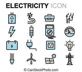 平ら, セット, アイコン, 電気, ベクトル, 線
