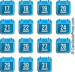 平ら, セット, アイコン, 1 月, 日々, 長い間, ベクトル, 年, 8, カレンダー, shadow.