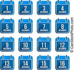 平ら, セット, アイコン, 12月, 年, 日々, 長い間, ベクトル, 6, カレンダー, shadow.