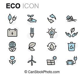 平ら, セット, アイコン, eco, ベクトル, 線