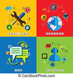 平ら, セット, &, アイコン, faq, ベクトル, サービス, 網, 一口, 連絡, デザイン