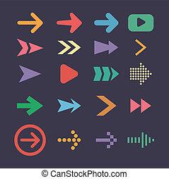 平ら, セット, アイコン, ui, 矢の設計