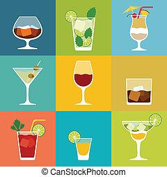 平ら, セット, アルコール, カクテル, デザイン, アイコン, style., 飲み物