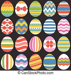平ら, セット, イースター, 1, 卵, デザイン, カラフルである