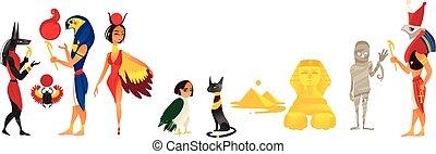平ら, セット, エジプト, 神, 隔離された, ベクトル, 漫画