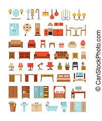 平ら, セット, オフィスアイコン, 内部, 家, 家具