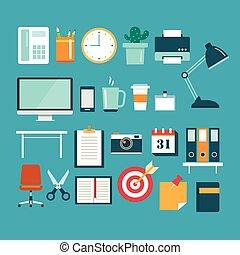 平ら, セット, オフィス装置, デザイン, アイコン