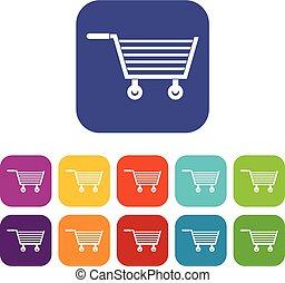 平ら, セット, オンラインで買い物をする, アイコン